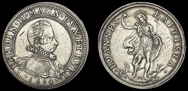 Lot 1787. Tuscany. Ferdinando II de Medici. Piastra, 1624/1623. World Coins from the Collection of the Late John Phillimore. Good very fine, very rare. GBP 3,000-4,000.