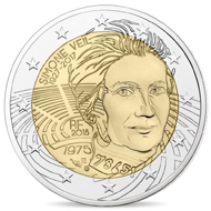 The new French 2 euro commemorative coin dedicated to Simone Veil.