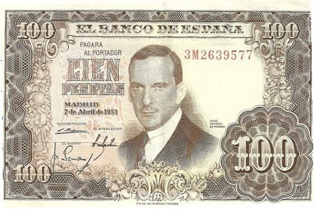 The old 100-pesetas bill from 1953 bearing the painter's portrait.
