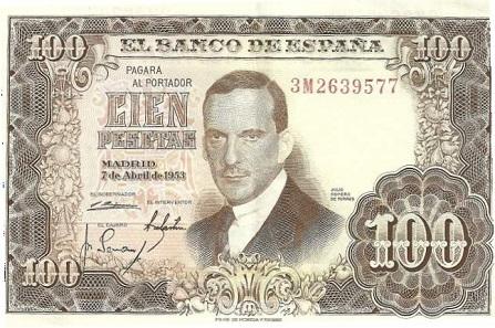 Die alte 100-Peseten-Note von 1953 mit dem Porträt des Malers.