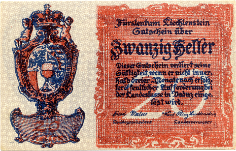 20 Heller, 1920. Format: 70 x 45 mm. Design: Prof. Kasimir, Vienna. Print: unknown.