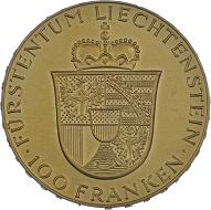 Fürst Franz Josef II. und Fürstin Gina. 100 Franken 1952, Bern.