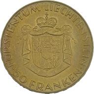 Fürst Franz Josef II. 50 Franken 1961, Bern.