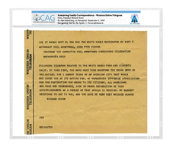 A congratulatory telegram from President Richard Nixon to Neil Armstrong.