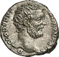 Denarius of Clodius Albinus as Caesar. Rome, 194-195. Rev. Minerva pacifera. RIC 7. From auction sale Gorny & Mosch 181 (2009), no. 2261.