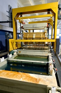 The individual electroplating processes take place in large pools.