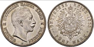 Los 1758: Deutsches Kaiserreich. Königreich Preußen. Wilhelm II., 1888-1918. 5 Mark 1888 A. vz+/f stplfr. Startpreis: 600 Euro.
