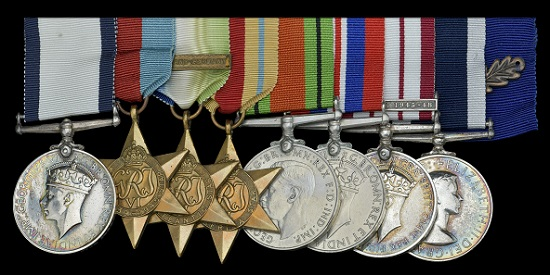 Lot 64. Conspicuous Gallantry Medal, G.VI.R. (P.O. R. H. G. McKinlay, P/JX.245579); 1939-45 Star; Atlantic Star, clasp, France and Germany; Africa Star; Defence and War Medals; Naval General Service 1915-62, 1 clasp, Palestine 1945-48 (P/JX. 801641 R. H. G. McKinlay. C.G.M. P.O. R.N.); Royal Navy L.S. & G.C., E.II.R., 2nd issue (JX. 801641R. H. G. McKinlay. C.G.M. C.P.O. H.M.S. Annet) mounted as worn together with Queen's Commendation for Brave Conduct oak leaf, light contact marks, otherwise very fine or better (8). GBP 30,000-40,000.