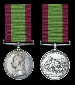Lot 725. The Second Afghan War Medal awarded to Private J. Smith, 66th Foot, who was killed in action at the Battle of Maiwand, 27 July 1880. Afghanistan 1878-80, no clasp (B/400, Pte. J. Smith, 66th. Foot). Nearly extremely fine. From the Collection of Second Afghan War medals. GBP 1,600-2,000.