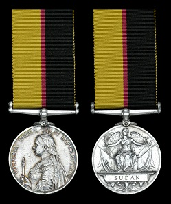 Lot 748. Queen's Sudan 1896-98 (Mr. S. Hughes. Ludgate Monthly). Very fine, rare. From a collection of Queen's and Khedive's Sudan Medals. GBP 700-900.