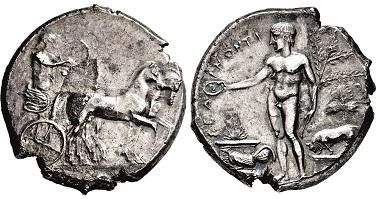 Nr. 2025: Sizilien. Selinos. Tetradrachme, 466-415 v. Chr. Taxe: 4.000 Euro.