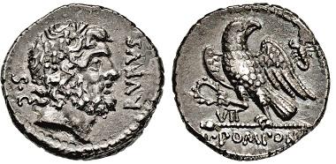 Nr. 2459: Römische Republik. Pomponia. Denar, 73 v. Chr. Taxe: 5.000 Euro.