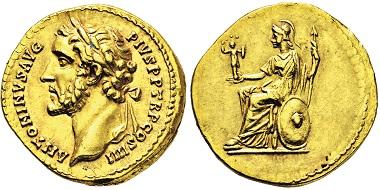 Nr. 2608: Römisches Kaiserreich. Antoninus Pius, 138-161 n. Chr. Aureus. Taxe: 13.000 Euro.