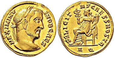 Nr. 2853: Römisches Kaiserreich. Maximinus II. Daia, 309-313 n. Chr. Aureus. Taxe: 19.000 Euro.