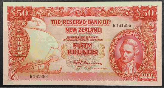 Lot 555. Fleming Fifty Pounds 1956-67, serial R131656, P162c, one main horizontal fold, several vertical folds. About 15 examples below the R199 number range known - rare. aVF. Estimate: $NZ 5,000.