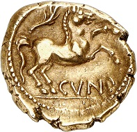 No. 1719: Catuvellauni and Trinovantes (Britain). Cunobeline, 8-41 AD. Gold stater. 20-41. Camulodunum (= Colchester). Very rare variety. Extremely fine. From Dr W. R. collection. Estimate: 2,500 euros.