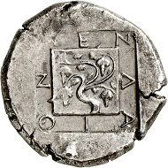 No. 2188: Mende (Macedonia). Tetradrachm, around 423. From Margaretha Ley collection, Numismatik Lanz auction 70 (1994), No. 51. Very rare. Extremely fine. Estimate: 40,000 euros.
