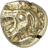 No. 2321: Ionia. Electrum hecte (1/6 stater), 7th / 6th cent. Very rare. Extremely fine. From Eberhard Link collection. Estimate: 600 euros.