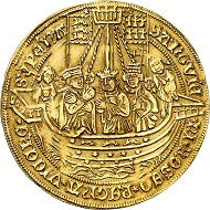 No. 3724: Cologne. Gold strike of 4 gold gulden from the dies of the dreikönigstaler n.d. (ca 1620). Extremely rare. Very fine. From Bankhaus Sal. Oppenheim collection. Estimate: 50,000 euros.