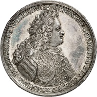 No. 4099: Mecklenburg-Schwerin. Frederick William. 1692-1713. Silver medal 1701 by Z. D. Kelp and B. Meyer on the occasion of the Treaty of Hamburg. Extremely rare. Extremely fine. Collection Mecklenburg. Estimate: 10,000 euros.