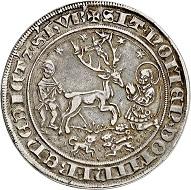No. 5512: Jülich-Berg. John III, 1511-1539. Guldengroschen n. d., probably Mühlheim mint. Extremely rare. Very fine to extremely fine. Estimate: 60,000 euros.