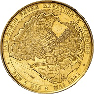 No. 8044: Hamburg. Gold medal 1842, unsigned, G. Loos workshop. Probably the only example on the market. Extremely fine. Estimate: 20,000 euros.