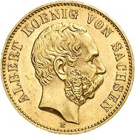 No. 8691: German Empire. Saxony. Albert, 1873-1902. 20 marks 1877. Very rare year. Extremely fine +. Estimate: 30,000 euros.