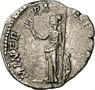 Denar des Clodius Albinus als Caesar. Rom, 194-195. Rs. Minerva pacifera. RIC 7. Aus Auktion Gorny & Mosch 181 (2009), Nr. 2261.