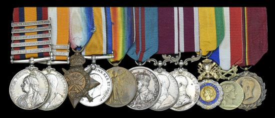 Lot 1050. An impressive M.S.M. and Medaille Militaire group of eleven awarded to Sergeant Thomas Secrett, 11th Hussars, late 8th Hussars, batman and personal servant to Field Marshal Earl Haig for 25 years. Good very fine and better (11). GBP 800-1,000.