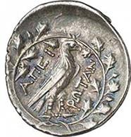 Koinon von Epirus. Drachme, um 210 v. Chr. Kopf des Zeus n. r. Rv. Adler auf Blitzbündel, alles in Eichenkranz. Franke 32-91. Aus Auktion Gorny & Mosch 191 (2010), 1394.