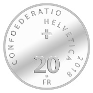 "Switzerland / 20 francs / 2018 ""Swiss Army Knife"" / 0.835 Ar / 20 g / 33 mm / Mintage: Uncirculated: 30,000, 5,000 in a folder. Proof: 5,000, 250 incl. artist's certificate."