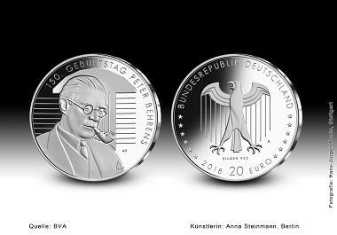 """20-Euro-Gedenkmünze """"150. Geburtstag Peter Behrens"""". Quelle: BVA."""