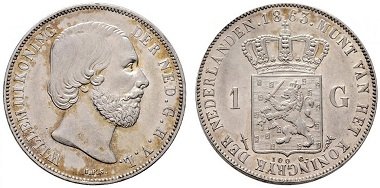 Lot 7740: Netherlands. William III. Gulden 1863. EF+/UNC-. Starting bid: 150 euros.