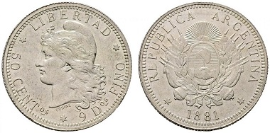 Lot 7121: Republic of Argentina. 50 cents 1881. EF. Starting bid: 120 euros.