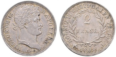 Lot 7040: Kingdom of Westphalia. Jérôme Bonaparte. 2 francs. VF+/EF-. Starting bid: 100 euros.
