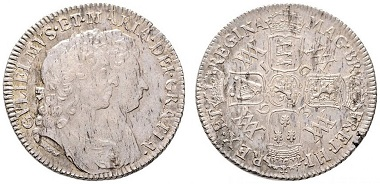 Lot 7626: Great Britain. William and Mary. Shilling 1693. Better than EF. Starting bid: 100 euros.