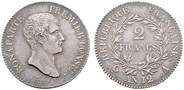 Lot 7535: France. Napoleon. 2 francs (year 12). EF. Starting bid: 80 euros.