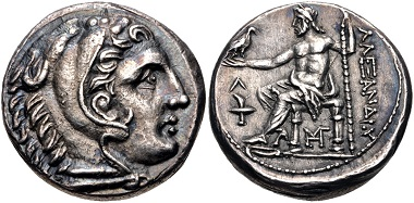 Lot 73: Kings of Macedon. Kassander. As regent, 317-305 BC, or King, 305-297 BC (in the name and types of Alexander III). Tetradrachm, circa 307-297 BC, Amphipolis. From the DMS Collection. EF, toned. Estimate: $500.