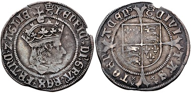 Lot 429: Tudor. Henry VIII, 1509-1547. Groat. First coinage, 1513-1518, Tournai mint. From the Dr. William E. Triest Collection. Near VF, toned, slight bend, small edge chip. Rare. Estimate: $500.