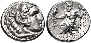 Lot 45: Kings of Macedon. Alexander III 'the Great', 336-323 BC. Drachm, struck under Menander, circa 324/3 BC, Sardes. EF, lustrous. Unique variety. Estimate: $200.