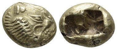Lot 65: Lydia. Sardes. Trite (electrum), before 561 BC. Rare, Extremely Fine. Starting bid: 950 GBP.