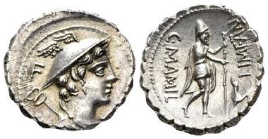Lot 373: C. Mamilius Limetanus. Denarius serratus, 82 BC. Good Extremely Fine. Starting bid: 120 GBP.