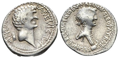 Lot 411: Cleopatra with Marcus Antonius. Denarius, 32 BC, mint moving with M. Antonius. Rare, area of weakness on obv. and insignificant scratches on rev., otherwise Very Fine. Starting bid: 950 GBP.