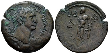 Lot 261: Egypt, Alexandria. Trajan, 98-117. Drachm, circa 110-111 (year 14). Extremely rare only two specimens known and the only one in private hands, attractive brown tone. From the Dattari collection. Good Very Fine. Starting bid: 700 GBP.