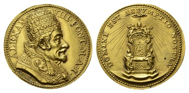 Lot 155: Alexander VIII, 1689-1691. Goldmedal, 1690. Die of Giovanni Hamerani.