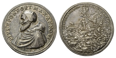 Lot 90: Pius V, 1566-1572. Silvermedal, 1571. Sea battle of Lepanto.