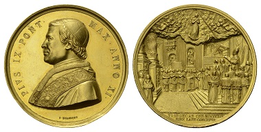 Lot 245: Pius IX, 1846-1878. Goldmedal, 1856. Dogma of the Immaculate Conception.