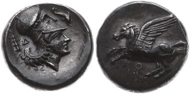 """A27: Korinthia. Korinth. Stater um 405-345 v. Chr. Pegasus n.l., darunter """"Koppa"""". Rs.: Kopf der Athena Chalintis mit Korinthischem Helm n.r., Beizeichen Keule und Delphin, dahinter"""