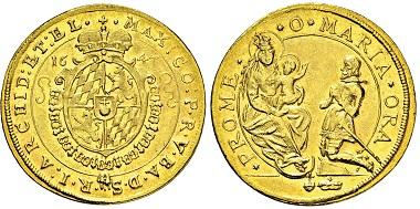 Nr. 3056: Kurfürstentum Bayern. Maximilian I. 1623-1651. 2 Dukaten 1647. Taxe: 3.750 Euro.
