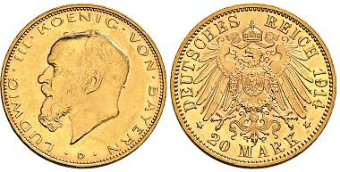 Nr. 3728: Königreich Bayern. Ludwig III. 1913-1918. 20 Mark 1914 D. Taxe: 4.000 Euro.